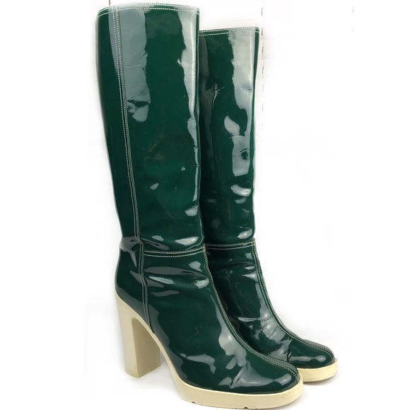 8e7b62b7406 Miu Miu Prada retro green patent knee high boots